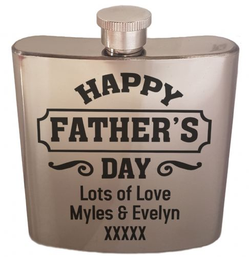 6oz Personalised Happy Father's Day Novelty Stainless Steal Gift Hip Flask